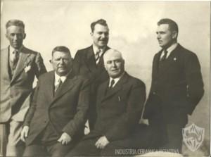 I soci fondatori: (da sinistra) Sante Boschieri, Girolamo Vaccari, Pietro Vaccari, Isnardo Carta, Oreste Carta.